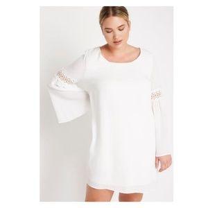 White Plus Mini Chiffon Dress